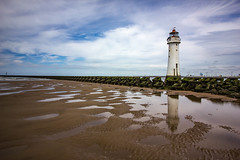 New Brighton Lighthouse on a summer Sunday (cathbooton) Tags: tide outdoor seascape landscape seadefences canonuser canoneos wideangle lighthouse coast sea canon sky clouds summer sunday july wirral merseyside sand reflection beach