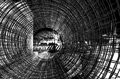 Steel Scratches (elweydelasfotos) Tags: mexico vanishing point perspective lines sky black white blanco y negro scratches steel structure architecture detail abstract street night style life art artist conceptual travel