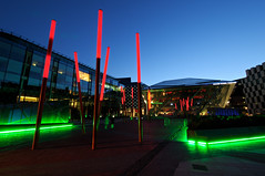The Bord Gis Energy Theatre formerly opened as Grand Canal Theatre at night in Dublin (PascalBo) Tags: ireland dublin building architecture night outdoors nikon europe theater theatre outdoor capital nighttime capitale nuit thtre irlande d300 ire pascalboegli