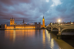 Parliament Reflection (Sam Schmidt) Tags: london england unitedkingdom greatbritain parliament bigben westminsterbridge night light reflection hdr
