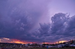 Anzac Day Storm 2015 is approaching and what a bang it was. (sylviamay1963) Tags: sunset clouds newcastle australia storms thunder 2015 barbeach sonya58