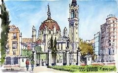 San Manuel y San Benito (P.Barahona) Tags: madrid moleskine urbano pluma acuarela waterbrush urbansketchers pbarahona