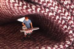 Gertie Toils in the Sock Cave (ShellyS) Tags: socks folded ironing itty hoscale macromondays railroadfigures