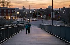 Couple in Hull on Alexandra Bridge (DaveR1988) Tags: wood bridge ontario canada cute love metal evening nice holding couple warm fuji quebec dusk walk steel ottawa x fujifilm hull xseries xt1 wlking xf1855