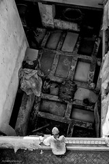 Fes tannery. (MrJSparks) Tags: travel blackandwhite bw industry monochrome leather industrial fuji northafrica candid craft morocco fez craftsman chemicals fes supervisor tannery silverefexpro x100t