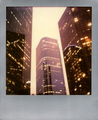 California Plaza Twilight (tobysx70) Tags: california ca street plaza light toby color building film america skyscraper silver project polaroid sx70 photography hope for la office los twilight downtown angeles dusk low bank wells tip cameras frame highrise type instant hancock expired edition fargo dtla impossible the of impossaroid