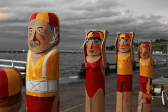 Life Savers (jezselten) Tags: life wood woman man art beach water waterfront painted famous australia melbourne rope save victoria saving savers bollard geelong bollards surflife surh