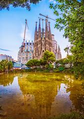 Barcelona postcard (Aleksander Gowacki Photography) Tags: ngc spain barcelona sagradafamilia architecture travel colorful europe nature sky reflection summer