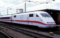 401 051  Ulm Hbf  25.06.91 (w. + h. brutzer) Tags: ulm eisenbahn eisenbahnen train trains deutschland germany railway db ice 401 triebzug triebzge webru analog nikon