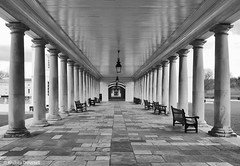 Pillars of Greenwich, London (manxmaid2000) Tags: london greenwich architecture mono uk symmetry colonnade pillars bench perspective monochrome blackandwhite walk path geometric england city history royal queenshouse column seat