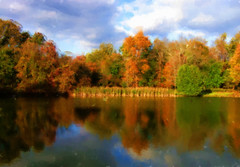 Fall Landscape in Spring (chantsign) Tags: autumn fall colors painting landscape waterreflection photopainting