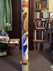 Paschal Candle 2015 (Rachel's works) Tags: adam jesus icon anastasis jesuschrist gilding westminstercathedral resurrection eggtempera paschalcandle descentintohell rachelsim