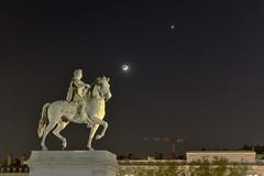 Louis XIV and the stars (flurryofsmoke) Tags: moon statue night venus lyon crescent astronomy taurus pleiades earthshine louisxiv hugin placebellecour aldebaran conjunction hyades presquîle easyhdr