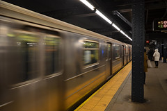 Arriving train, Chambers Street (Thomas Roland) Tags: street new york city travel usa motion station by america train subway metro manhattan district chambers