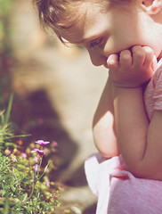 Contemplate (jayneboo) Tags: sunlight flower 35mm child deep granddaughter thoughts rockery comtemplate fujix