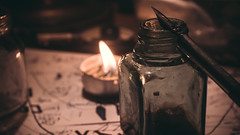 Ink (DESILIRENT) Tags: pen ink bottle candle calligraphy