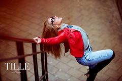 DSC_3054 (L a t i t u d e) Tags: city urban streets girl sunglasses hair dance model nikon 85mm jacket sunnies f14g nikondf