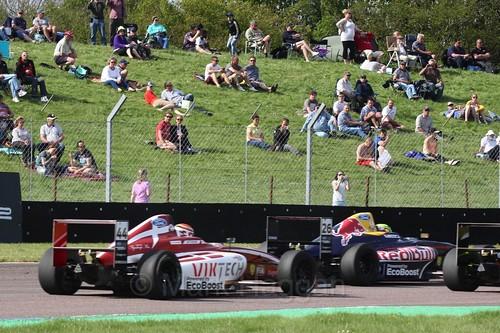 Patrik Matthiesen and Luis Leeds in British Formula Four during the BTCC Weekend at Thruxton, May 2016