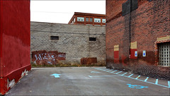 Strip District composition (real00) Tags: pittsburgh urban landscape urbanlandscape red redandcyan wall alley parking cloudy geometric abstract graffiti