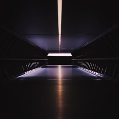 Spaceport (Olly Denton) Tags: uk reflection building london apple public architecture canon lights vanishingpoint mac tunnel canarywharf ios crossrail 400d vsco vscocam vscolondon adamsplazabridge