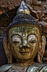Ancient Treasures (Baron Reznik) Tags: statue vertical asia asien buddha burma buddhist religion objects buddhism myanmar hdr shanstate spirtuality  colorimage  sakyamuni      awakenedone  gautamabuddha  siddhatthagotama nyaungohak siddhrthagautamabuddha  theenlightenedone  indeinvillage   republicoftheunionofmyanmar  shanbagan  sonyfe24240mmf3563oss