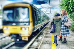 The train arrives... Ealing Broadway Station, Ealing, London, England (PaChambers) Tags: england woman west london station train women waiting diesel pastel broadway platform may railway turbo filter ealing gwr 2016 thamestrains womsn