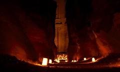 The Siq opening to the Treasury (russkie) Tags: rock night petra jordan opening gorge tealight thetreasury petrabynight thesiq