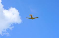Yellow, into the blue! (SteveJM2009) Tags: uk aircraft flight may aeroplane wiltshire raf 1944 stevemaskell 2016 northamerican wilts boscombedown kf183 harvardempiretestpilotsschool