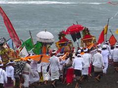 Honouring the Sea (alexa k orr) Tags: beach garbage ceremony parade pollution promenade procession tradition umbrellas pantai parasols offerings balinese 2016 canang pantailima