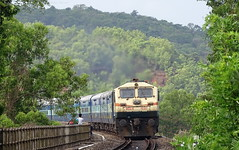 The train comes out from the green canopy of Goa. Mandovi Express. (Omkar Sawant) Tags: highway greenery express lush railways 10104 mandovi konkan ubl nh17 wdg4