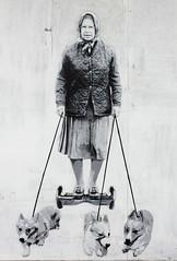 image (Kathi Huidobro) Tags: stencilart dulwich hovverboard queenwalkingcorgis corgis southlondon british thequeens90thbirthday thequeen catman streetart graffiti mural animals london londonstreetart monochrome