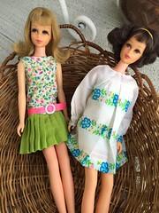 Traveling Girls (Foxy Belle) Tags: francie doll barbie mod mattel vintage outside