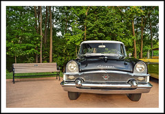 Sit Awhile by the 1955 Packard on Bench Monday (sjb4photos) Tags: 2016motormuster 1955packardclipper bench benchmonday hbm greenfieldvillage