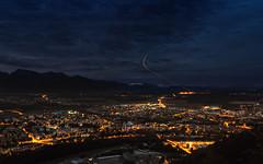 Airplane light trail (Dejan Hudoletnjak) Tags: nightcity nightcityscape citykranj light airplane airplanelighttrail lighttrail trails longshutterspeed longexposure
