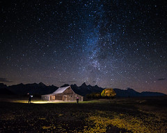 photographing the stars and barn - explore (Marvin Bredel) Tags: sky lightpainting fall leaves night stars lights photographers wyoming jacksonhole milkyway grandtetonnationalpark mormonrow antelopeflats moultonbarn canoneos6d thomasmoultonbarn tamoultonbarn marvinbredel