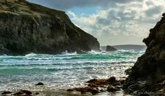 Nolton Haven (Ninja Dog - 忍者犬) Tags: ocean uk autumn light sea sunlight seascape colour wales coast nikon october rocks waves cliffs seashore pembrokeshire 2011 noltonhaven tonemapped d80