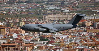 Royal Air Force Boeing C-17 Globemaster III ZZ174 performs a Sovereignty Patrol over RAF Gibraltar