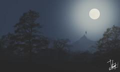 Night Levitation (Trilogy levitation) (Samuel Daz) Tags: blue moon azul illustration backlight night photoshop contraluz dark landscape noche levitation paisaje luna brushes illustrator minimalism 2d minimalismo aire libre oscuridad ilustracin pinceles levitacin