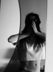 IMG_3690 (Beatrice Toffoletto) Tags: girl canon reflections hair myself mirror blackwhite