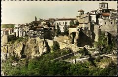 Cuenca: Casas colgadas y vista parcial= suspended Houses and partial view= Maisons suspendues et vue partielle (Centro de Estudios de Castilla-La Mancha (UCLM)) Tags: bridges postcards puentes cuenca panoramicviews vistaspanormicas tarjetaspostales