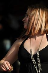 Fingers Cymbals (Poocher7) Tags: shadow portrait music sun ontario canada dancing candid bellydancer naturallight kitchener shorthair redlipstick blondehair prettygirl blackdress streetparty rednailpolish fingercymbals streakedhair longsilvernecklace hohnerporchparty