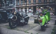 Puch vs Schwalbe (Adrian-D.) Tags: street old urban berlin bike bicycle stone vintage concrete retro bmw ddr moped gdr motorrad schwalbe