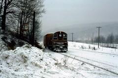 BMRR SW9 1223 ErvingMA 1-30-1987 (ironmike9) Tags: railroad train track rail railway rr locomotive freight sw9 switcher emd bostonmaine bmrr