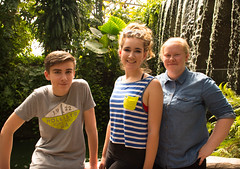 Luke, Bex and Liv (littlestschnauzer) Tags: family teens visit tropical world leeds tourist attraction uk yorkshire nikon d7200 june 2016 plants waterfall greenhouse roundhay park nature group shot pool water