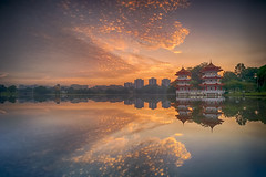 Sunrise (ystan) Tags: lake west colour reflection weather clouds sunrise pagoda twin jurong hdr ais20mmf28 d700
