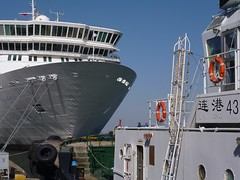 Are we there yet ? (BenZ-fotos) Tags: china travel cruise port marine asia harbour transport dalian cruising vessel maritime bow tug prc  hull docked fareast liner oceanliner  peoplesrepublicofchina moored  5photosaday  mvbalmoral   fredolsencruiselines fareastexplorer
