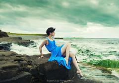 Mary July 2016 1 (John Mee Photography) Tags: ocean blue ireland sea green girl model mary atlantic mayo atlanticocean sligo bluedress greensea enniscrone watchingtheocean wildatlanticway pornocean carrownedin