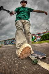 Kick.....Push..... (D-W-J-S) Tags: portrait blur self fisheye skate longboard skateboard hdr selfie longboarding mvement