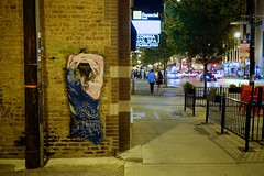 Take Back the Night (cookedphotos) Tags: travel blue summer urban woman chicago art tourism night graffiti back fuji dress walk streetphotography sidewalk behind 23mm divisionave xt1