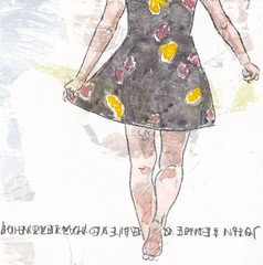 # 184 (02-07-2016) (h e r m a n) Tags: herman illustratie tekening bock oosterhout zwembad 10x10cm 3651tekenevent tegeltje drawing illustration karton carton cardboard meisje girl benen legs jurkje jurk dress lopen walk john back rug rucke ruggenfiguur ruckenfigur